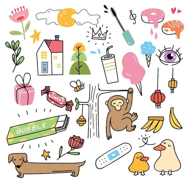 Diverses choses mignonnes dans le style de doodle