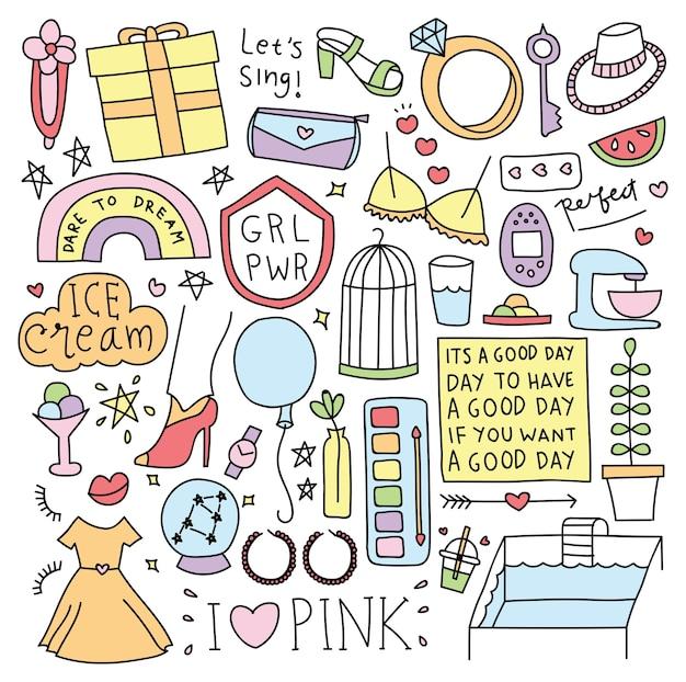 Diverses choses mignonnes en illustration vectorielle de doodle style