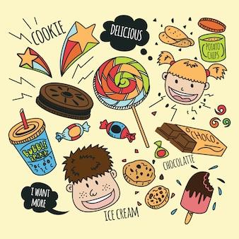 Diverses collations avec des enfants heureux dans un style doodle