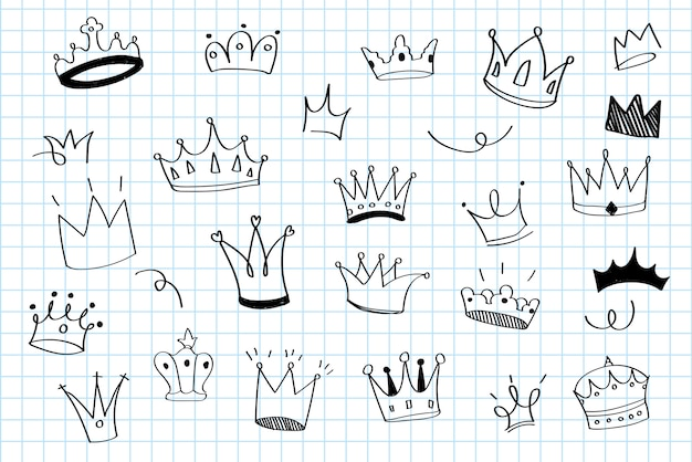 Diverses couronnes doodle illustration vectorielle