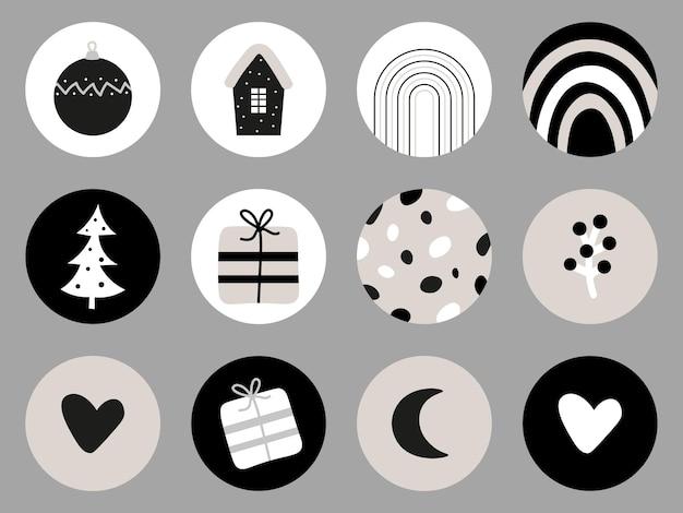 Diverses couvertures de noël ensemble nordique d'icônes pour les couvertures des faits saillants de l'histoire des médias sociaux