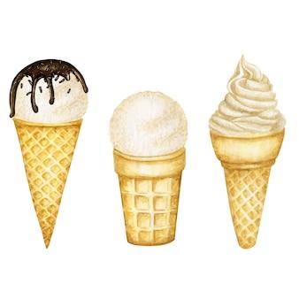 Diverses cuillères à glace à la vanille décorées de chocolat en cornet gaufré. aquarelle