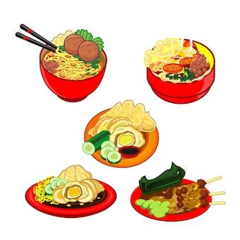 Diverses cuisines indonésiennes traditionnelles