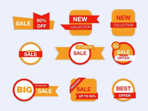 Diverses étiquettes illustration de promotion de vente isolée
