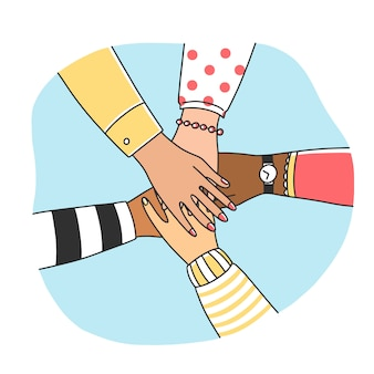 Diverses femmes rassemblant leurs bras