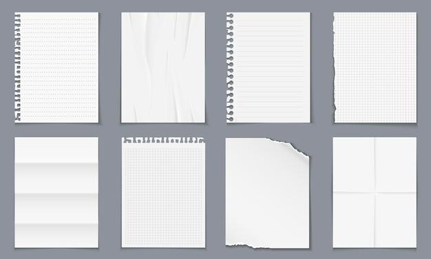 Diverses feuilles vierges de papier réalistes