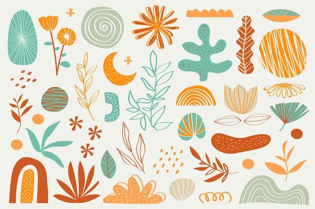 Diverses fleurs et plantes fond de formes organiques