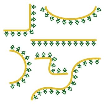Diverses formes vectorielles décoration de bordure d'angle maison traditionnelle du vieux jakarta, indonésie