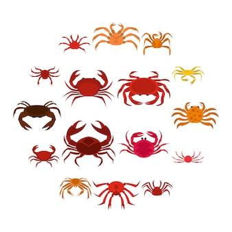 Diverses icônes de crabe définies dans un style plat