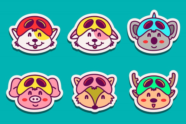 Diverses illustrations de dessins d'autocollants de personnage animal