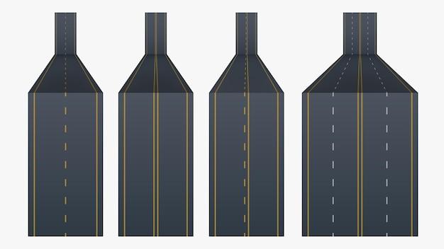 Diverses lignes de route en set on white