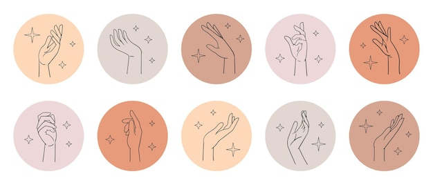 Diverses mains féminines dans diverses poses poignet croquis linéaire main icônes cercles illustration vectorielle