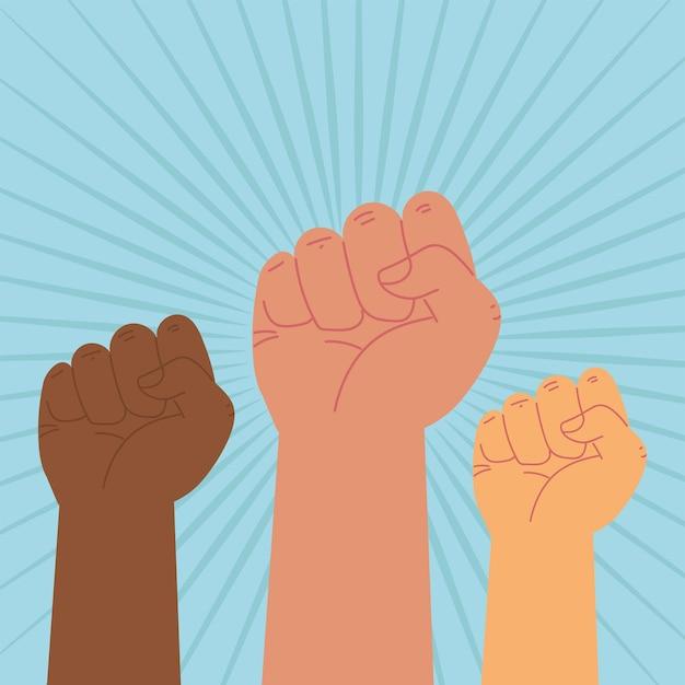 Diverses manifestations de mains levées