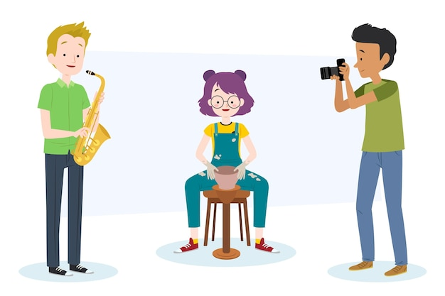 Diverses personnes créatives avec leurs hobbies