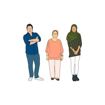 Diverses personnes occasionnelles illustrées