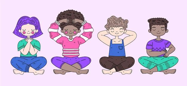 Diverses personnes s'auto-guérissant avec des poses de reiki