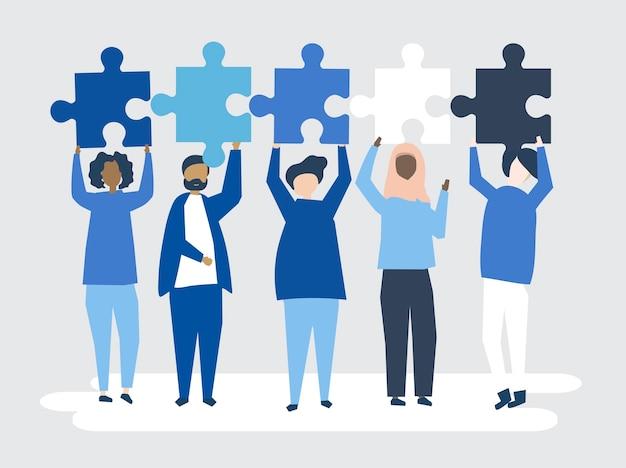 Diverses personnes tenant des pièces de puzzle différentes illustration