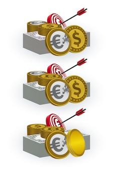 Diverses pièces de monnaie, billets de banque, cibles et symboles de flèche