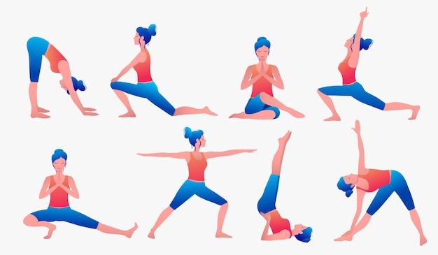 Diverses Poses De Yoga. Illustration Vectorielle De Yoga Féminin. Mode De Vie Sain. Vecteur Premium