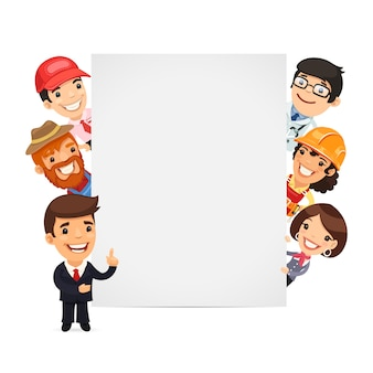 Diverses professionnels présentant une bannière verticale vide