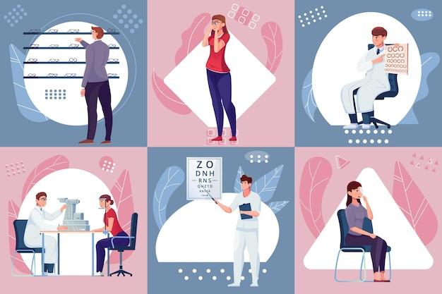 Diverses scènes dans le travail du cabinet d'ophtalmologie