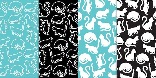 Diverses silhouettes et contours de chat animal de compagnie dans un vecteur gratuit de motif de fond répété sans soudure
