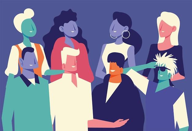 Diversité des gens avatar, hommes et femmes portrait illustration vectorielle