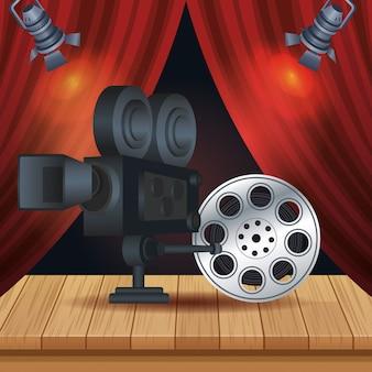 Divertissement cinéma avec illustration de bobine et appareil photo