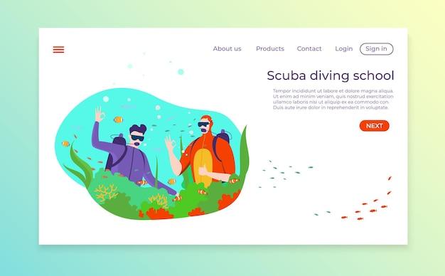 Diving club landing bannière web sport extrême page de destination de l'océan tropical