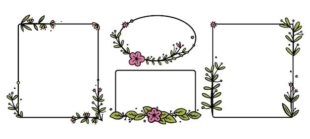 Diviseurs de couronnes rustiques avec des fleurs dessinées à la main couronnes de doodle rectangle et cercle