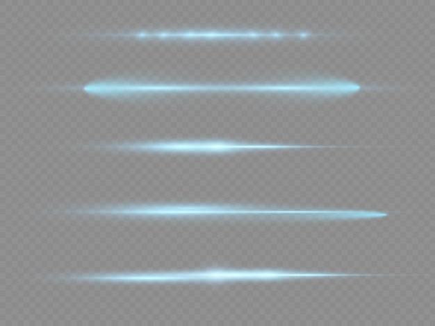 Diviseurs De Lumière Bleue Faisceaux Laser Rayons Lumineux Horizontaux Stries Lumineuses Pack De Fusées éclairantes Bleues Vecteur Premium