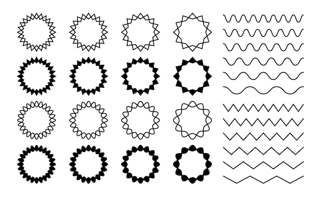 Diviseurs ondulés en zigzag. cadres ronds ondulés en zigzag. lignes ondulées horizontales isolées, ensemble vectoriel de bordures dentelées incurvées noires. bordure de séparation en zigzag, illustration courbe parallèle de modèle