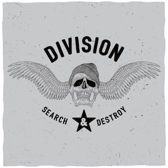 Division search and destroy poster avec crâne en illustration de chapeau et ailes