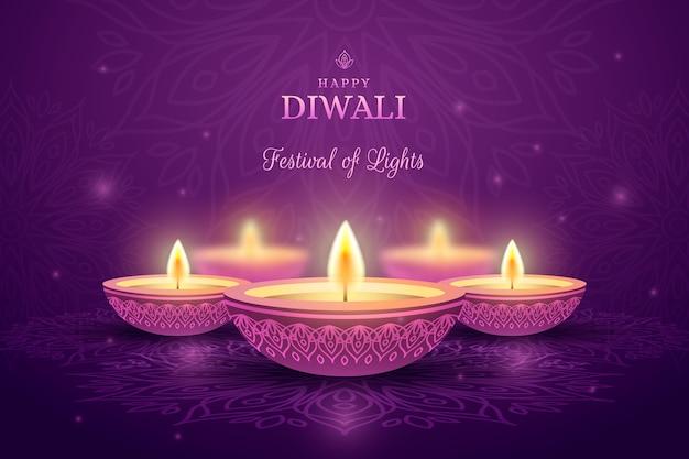 Diwali alléger les bougies vue de face
