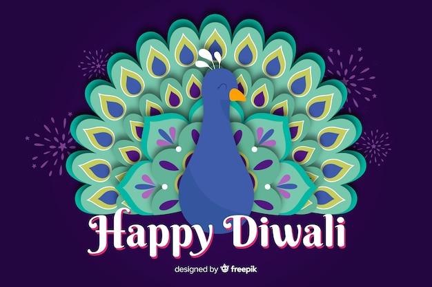 Diwali en arrière-plan de style papier
