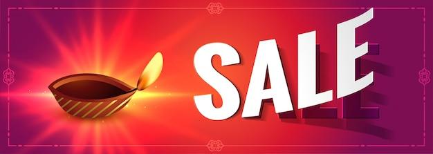Diwali bannière rougeoyante avec diya