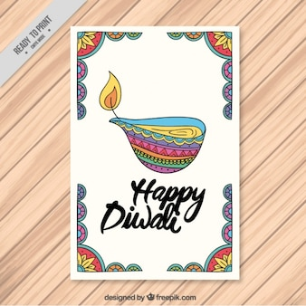 Diwali brochure de bougie décorative de couleur dessinée à la main
