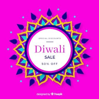 Diwali coloré vente au design plat