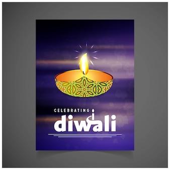 Diwali design avec fond violet et vecteur de typographie