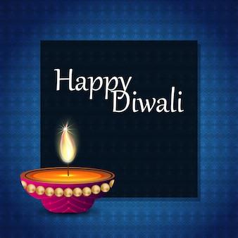 Diwali design fond bleu et vecteur de la typographie