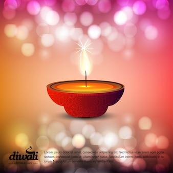 Diwali design avec fond clair et vecteur de typographie