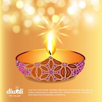 Diwali design fond jaune et vecteur de typographie