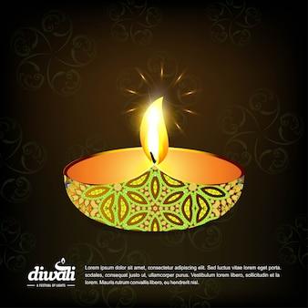 Diwali design avec fond sombre et vecteur de typographie