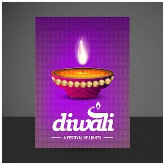 Diwali design fond violet et vecteur de typographie