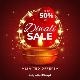 Diwali design réaliste vente avec 50% de réduction