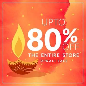 Diwali dicount du festival et offre bannière avec diya sur fond orange aquarelle