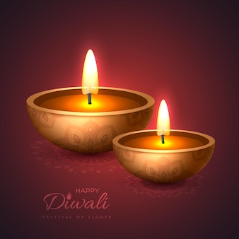 Diwali diya - lampe à huile. conception de vacances pour le festival indien traditionnel des lumières. style réaliste 3d sur fond violet rangoli. illustration vectorielle.