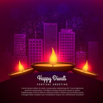 Diwali diya lieu en face de la conception du bâtiment