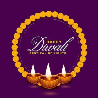 Diwali diya réaliste avec fond de cadre de fleurs