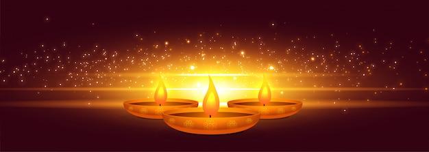 Diwali diya rougeoyant avec bannière lumineuse